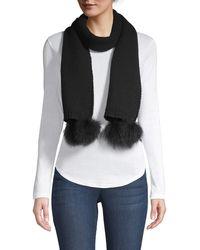Portolano Fox Fur Pom-pom Cashmere Scarf - Black