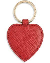 Smythson - Panama Heart Leather Key Ring - Lyst