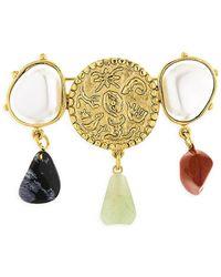 Oscar de la Renta 24k Goldplated & Mixed-gemstone Coin Brooch - Metallic