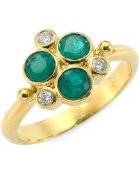 Temple St. Clair - Diamond & Emerald Trio Ring - Lyst