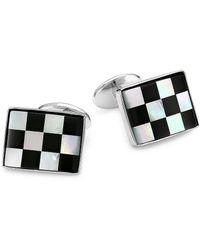 David Donahue Check Onyx Sterling Silver Cuff Links - Metallic