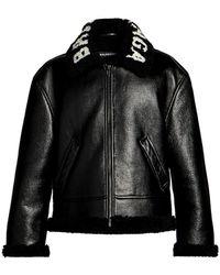 Balenciaga Cocoon Shearling Collar Leather Jacket - Black