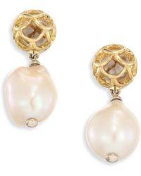 John Hardy - Legends Naga 11m White Baroque Pearl & 18k Yellow Gold Drop Earrings - Lyst