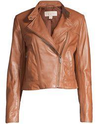 MICHAEL Michael Kors Michael Plus Size Leather Moto Jacket - Multicolor