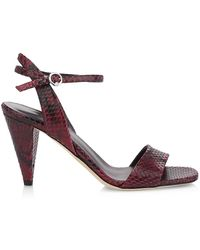 Via Spiga Ria Snakeskin-embossed Leather Sandals - Multicolor