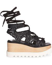 Stella McCartney Elyse Woven Platform Wedge Sandals - Black