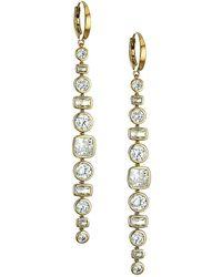 Adriana Orsini - 18k Goldplated & Cubic Zirconia Bezel-set Linear Earrings - Lyst