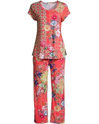 Johnny Was Whistle 2-piece Short Sleeve Pajama Set - Red
