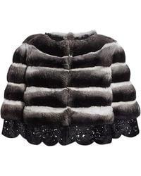 Saks Fifth Avenue The Fur Salon Rindi For Crop Chinchilla Fur Lace-eyelet Jacket - Black