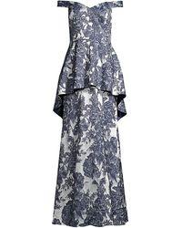 Aidan Mattox Off-the-shoulder Floral Peplum Gown - Blue