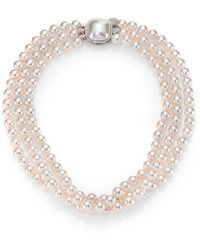 Majorica - 8mm White Pearl & Sterling Silver Nested Triple-strand Necklace - Lyst