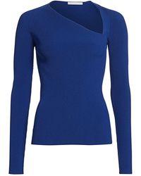 Helmut Lang Rib-knit Raglan Pullover - Blue