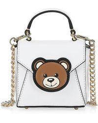 Moschino Mini Bear Leather Satchel - White