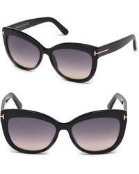 ab70b030264b Tom Ford - Alistair 56mm Cat Eye Sunglasses - Lyst