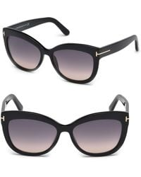 6158e9dcaa8 Lyst - Tom Ford Sandra 62Mm Oversized Crossover Round Sunglasses in ...