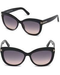 83c79d1c520 Tom Ford - Women s Alistair 56mm Cat Eye Sunglasses - Black - Lyst