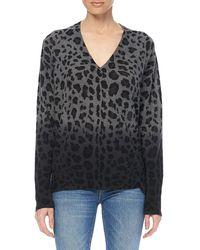 360cashmere Lou Dip-dye Leopard Print Cashmere Sweater - Gray