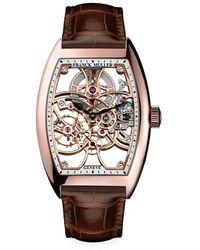 Franck Muller Cintr E Curvex Skeleton Rose Gold & Alligator Strap Watch - Multicolor