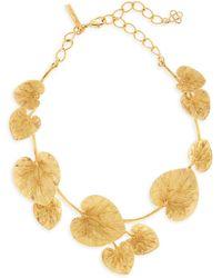 Oscar de la Renta Goldtone Eucalyptus Leaf Choker Necklace - Metallic
