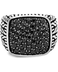 John Hardy Chain Collection Classic Rhodium-plated Sterling Silver Signet Ring - Black