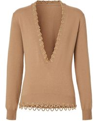 Burberry Cashmere Chain Trim V-neck Sweater - Natural