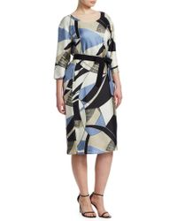 Marina Rinaldi - Printed Silk Sheath Dress - Lyst