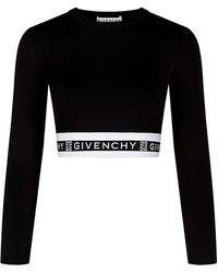 Givenchy Logo Banded Crop Top - Black