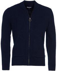 Barbour Tartan Gillespie Wool Zip-through Sweater - Blue