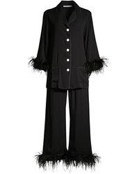 Sleeper Black Tie Feather - Trim Pajama Set