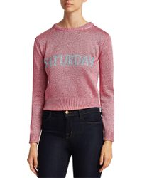 Alberta Ferretti - Women's Rainbow Week Capsule Days Of The Week Saturday Lurex Sweater - Pink - Size 42 (6) - Lyst