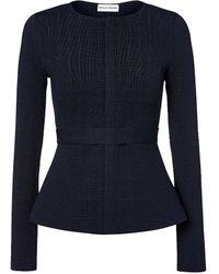Scanlan Theodore Crepe Knit Curved Hem Jacket - Blue