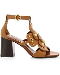 See By Chloé Haya Floral Leather Sandals - Brown