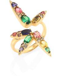 Nikos Koulis - Spectrum Brown Diamond, Tsavorite, Iolite, Pink Tourmaline, Yellow Beryls & Rhodolite Ring - Lyst