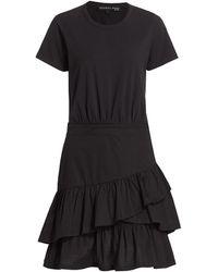 Veronica Beard Noha Flounce T-shirt Dress - Black