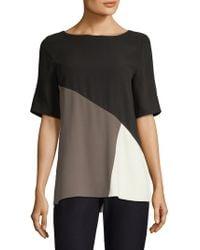 Eileen Fisher - Silk Colorblock Top - Lyst