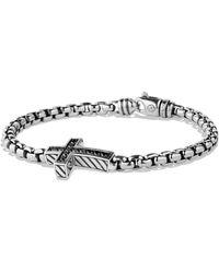 David Yurman - Pavé Black Diamond Cross Bracelet - Lyst