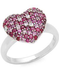 Effy Ruby & Sapphire Heart Ring - Multicolour