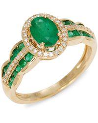 Effy 14k Yellow Gold, Emerald & Diamond Ring - Green