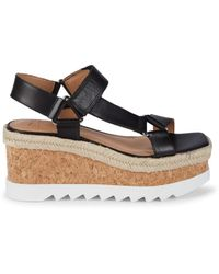 Marc Fisher Women's Gylian Leather Platform Wedge Sandals - Black - Size 6.5
