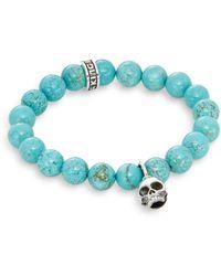 King Baby Studio - Turquoise & Sterling Silver Beaded Skull Charm Bracelet - Lyst