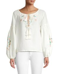 All Things Mochi Women's Embroidered Linen Top - Off White - Size Xl