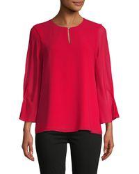 Calvin Klein Keyhole Three-quarter Sleeve Top - Red