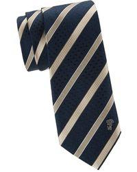 Versace Men's Striped Silk Tie - Navy Beige - Blue