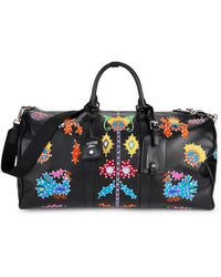Moschino Embellished Leather Duffel Bag - Black