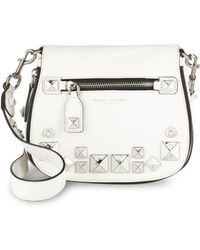 Marc By Marc Jacobs Recruit Small Chipped Studs Leather Saddle Crossbody Bag - White
