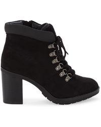 Kensie Women's Atlanta Faux Fur-trim Heeled Booties - Black - Size 6