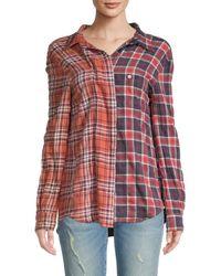 R13 Women's Off-shoulder Two-tone Plaid Shirt - Maroon Rust Multi - Size S - Multicolor