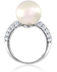 Majorica - 12mm White Pearl & Crystal Ring - Lyst
