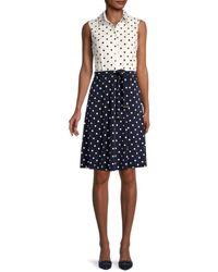 Tommy Hilfiger Women's Belted Polka Dot Shirtdress - Sky Captain - Size 8 - Blue