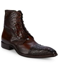 Jo Ghost - Croc-embossed Leather Lace-up Boots - Lyst